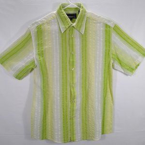 Pronti Mens Shirt L Green Striped Short Sleeve EUC